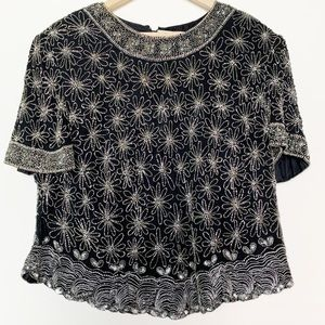 Vintage Papell Silk Black Beaded Short Holiday Top